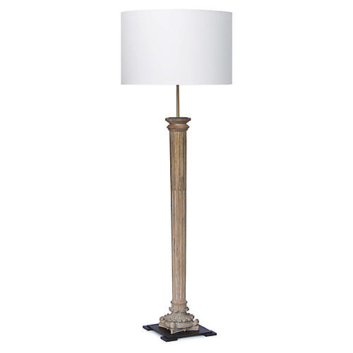 Reuben Floor Lamp, Distressed Natural