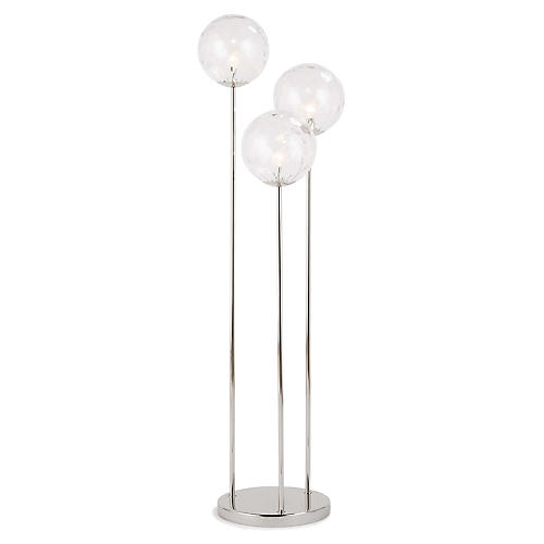 Rio Triple Floor Lamp, Clear/Polished Nickel
