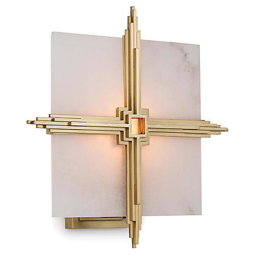 Gotham Alabaster Sconce, Natural Brass