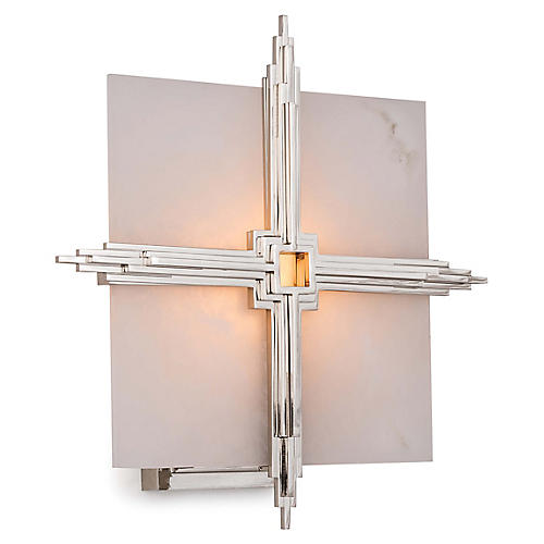 Gotham Alabaster Sconce, Polished Nickel