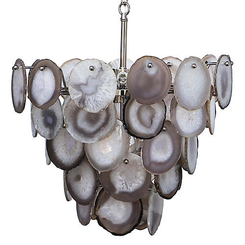 Sabrina Chandelier, Agate/Polished Nickel