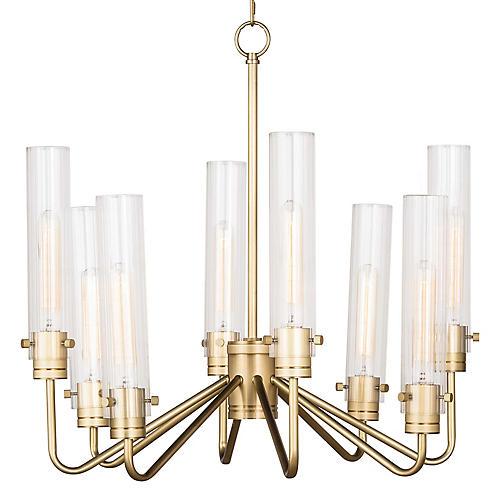 Neo 8-Light Chandelier, Natural Brass
