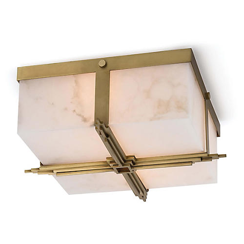 Gotham Alabaster Flush Mount, Natural/Brass
