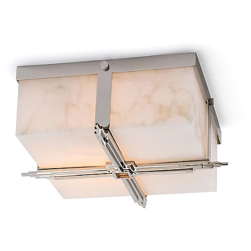 Gotham Alabaster Flush Mount, Natural/Nickel