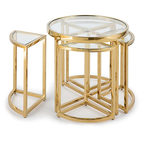 Asst. of 5 Majestic Nesting Tables, Gold