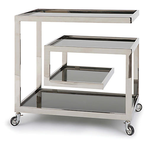 Collins Bar Cart, Polished Nickel
