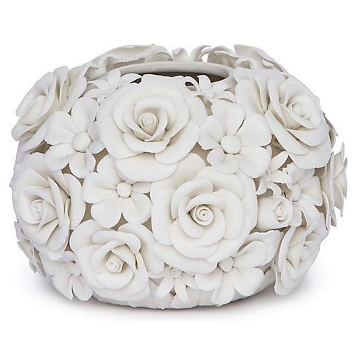 """6"""" Alice Porcelain Flower Vase, White"""