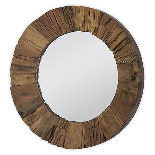 Concave Wall Mirror, Reclaimed Natural