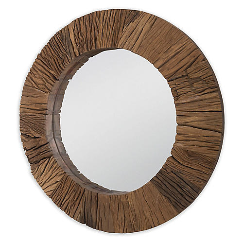Convex Wall Mirror, Reclaimed Natural