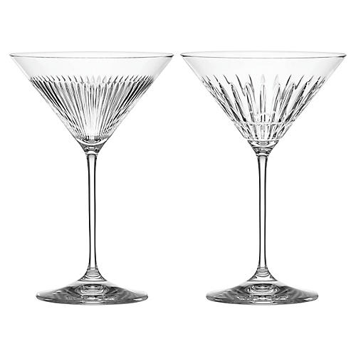 S/2 O'Brien New Vintage Martini Glasses, Clear
