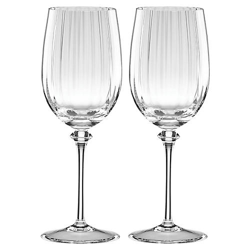 S/2 Austin White-Wine Glasses, Clear