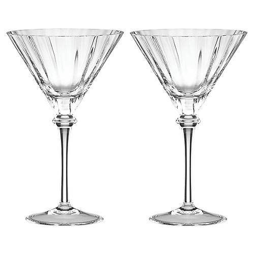 S/2 Austin Martini Glasses, Clear