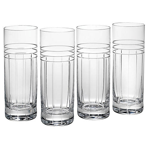 S/4 Tempo Highball Glasses, Clear