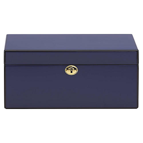 "12"" Modern Lines Jewelry Box, Navy"