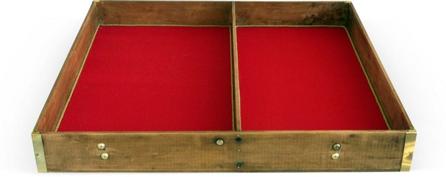 Antique 2-Compartment Pine Trunk Tray