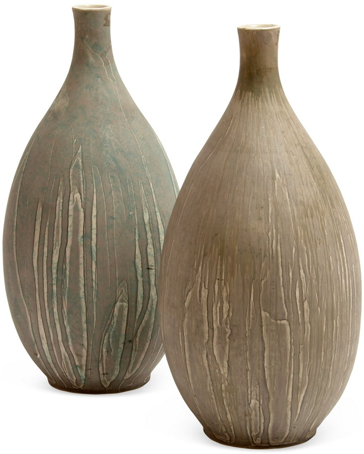 Drip Matte Glaze Tapered Vases, Pair