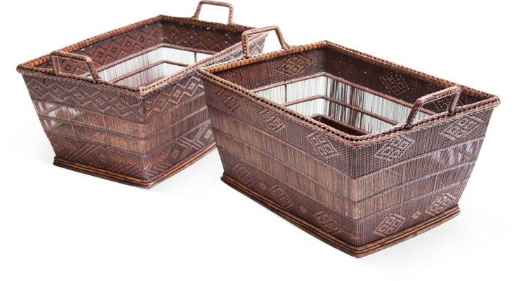 Indonesian Wicker Baskets, Pair