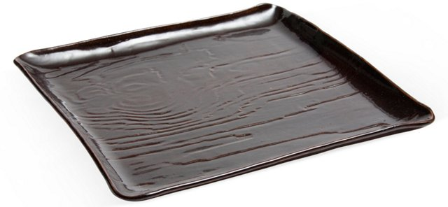 Ceramic Wood-Grain Glaze Tray, Large