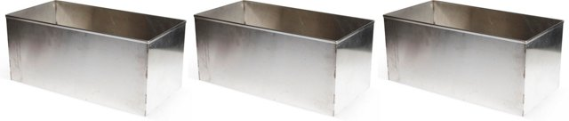 Steel Rectangular Bins, Set of 3