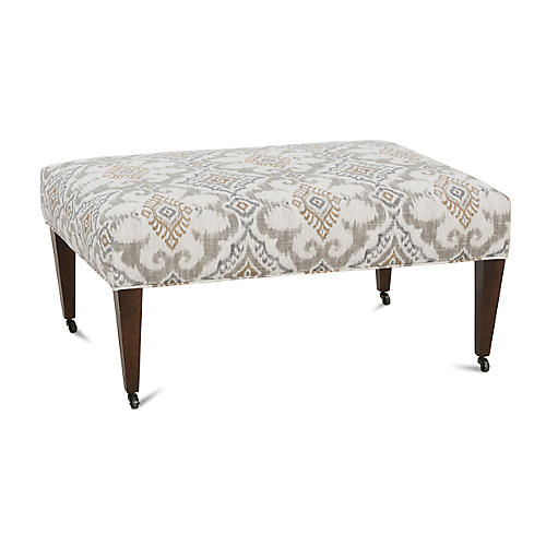 Ashby Cocktail Ottoman, Gray Ikat