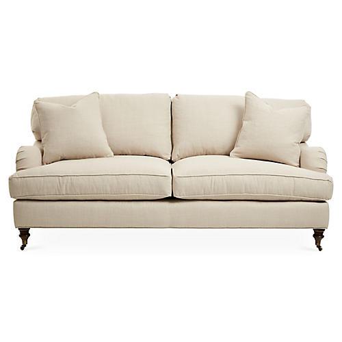 Brooke Roll-Arm Sofa, Natural