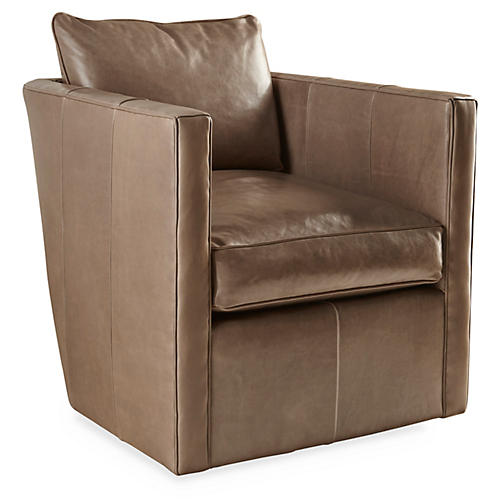 Rothko Swivel Chair, Taupe Leather