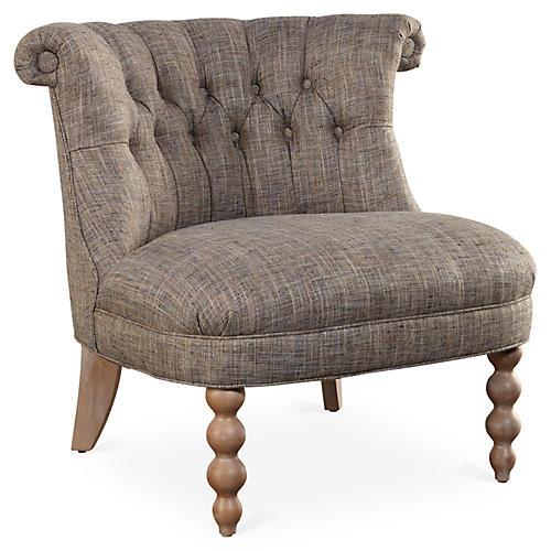 Haight Slipper Chair, Taupe Herringbone