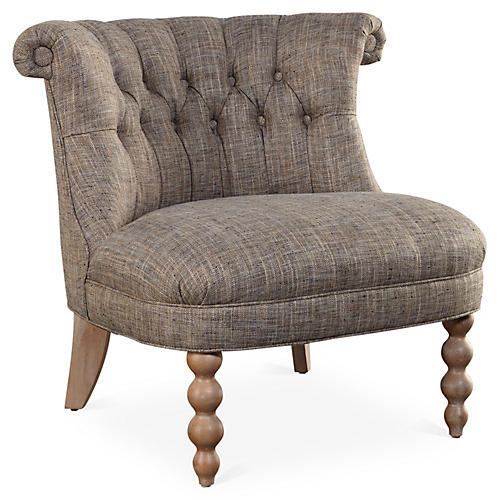 Haight Slipper Chair, Taupe Herringbone