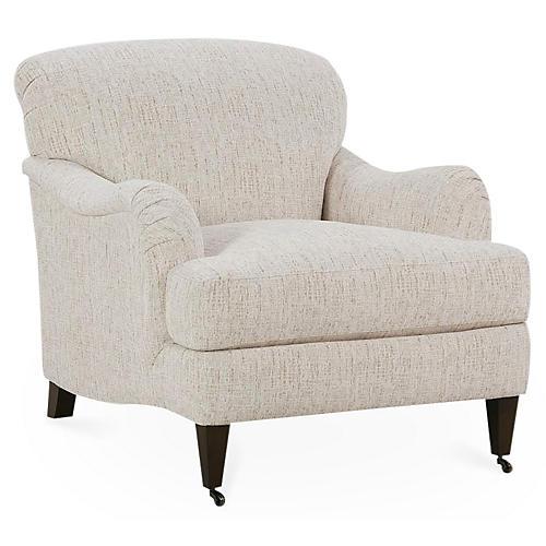 Brampton Club Chair, Natural Chenille