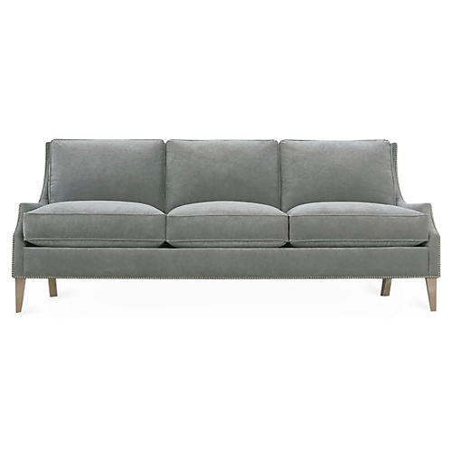 "Duchess 86"" Swoop-Arm Sofa, Smoke Velvet"