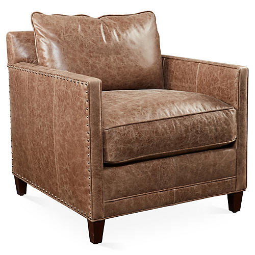 Springfield Club Chair, Mushroom Leather