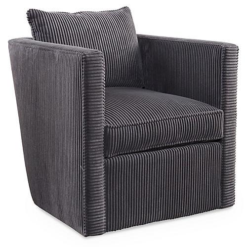 Rackham Swivel Chair, Channeled Velvet