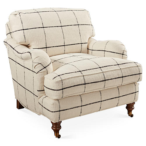 Brooke Club Chair, Black Check