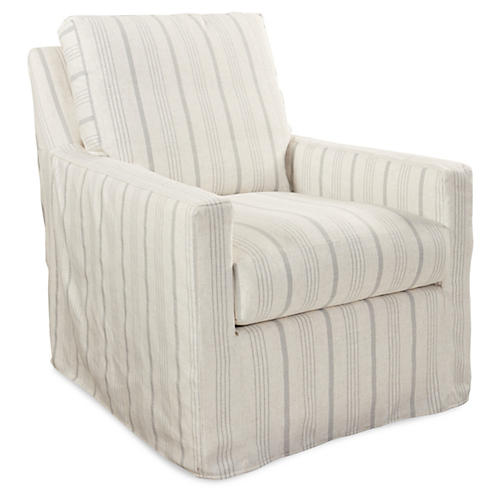 Lindsay Swivel Club Chair, Gray Stripe