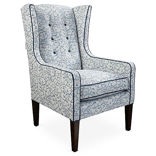 Angelica Wingback Chair, Blue Floral