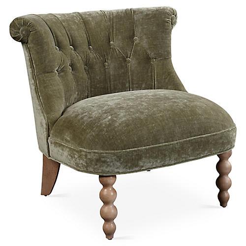 Haight Slipper Chair, Moss Velvet