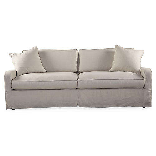 "Havens 92"" Slipcovered Sofa, Putty"