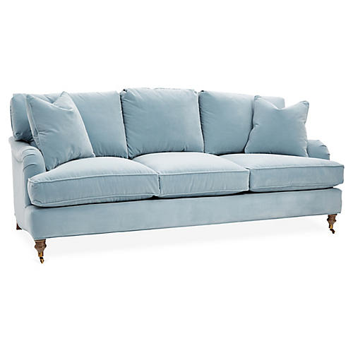 Brooke 3-Seat Sofa, Light Blue Crypton