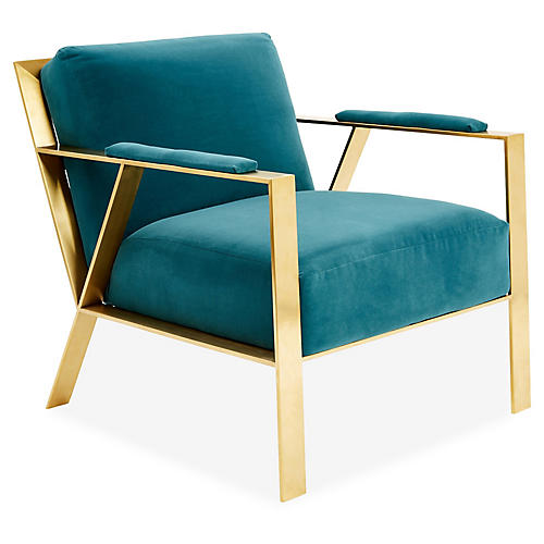 Bergen Accent Chair, Peacock Crypton