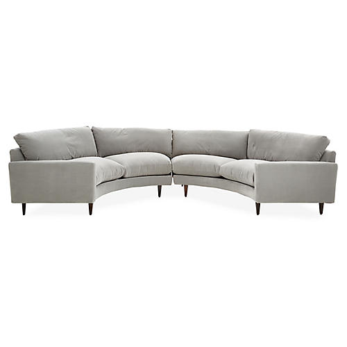 Oslo Curved Sectional, Gray Crypton