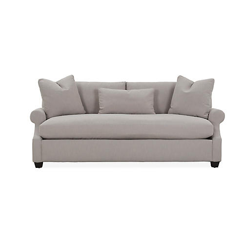 Bristol Roll-Arm Sofa, Greige Crypton