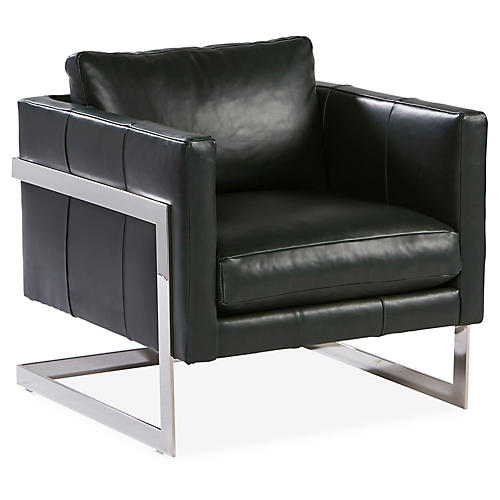 Geneva Accent Chair, Spruce Green Leather