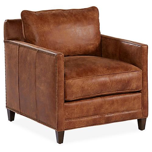 Springfield Club Chair, Caramel Leather