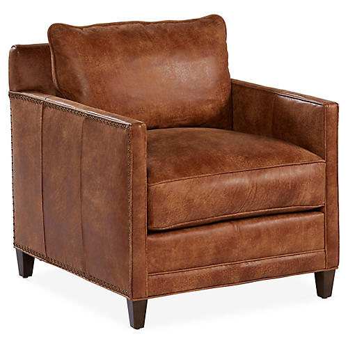 Savas Club Chair, Caramel Leather