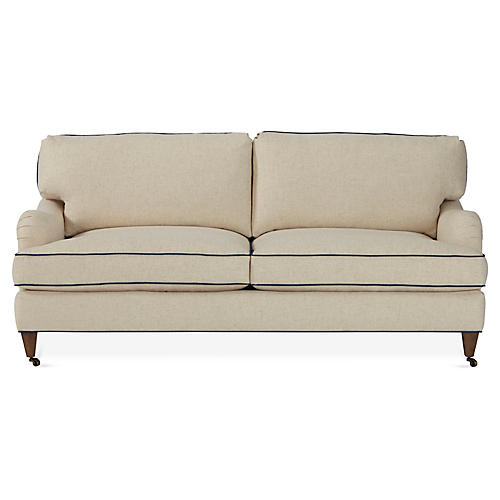 Brooke Sofa, Natural Parchment/Indigo