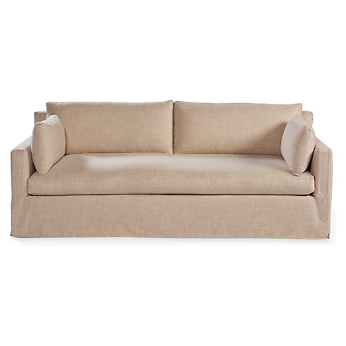 Saunders Slipcover Sofa, Pebble