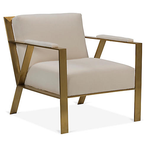 Baran Accent Chair, Bone White Crypton
