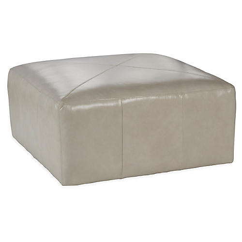 Miles Cocktail Ottoman, Oyster Leather