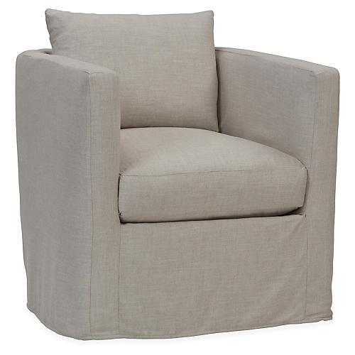 Rothko Swivel Club Chair, Gray Linen