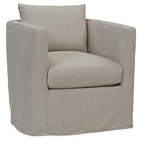Rothko Swivel Chair, Gray Linen